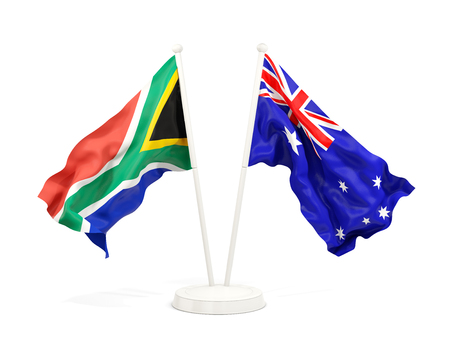 Two waving flags of South Africa and australia isolated on white. 3D illustration Stock Photo