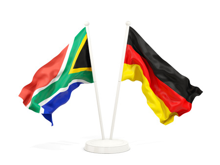 Two waving flags of South Africa and germany isolated on white. 3D illustration