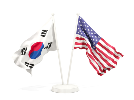 Two waving flags of South Korea and United States isolated on white. 3D illustration