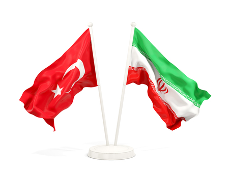 Two waving flags of Turkey and iran isolated on white. 3D illustration