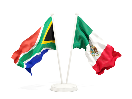 Two waving flags of South Africa and mexico isolated on white. 3D illustration