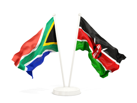 Two waving flags of South Africa and kenya isolated on white. 3D illustration Stock Photo