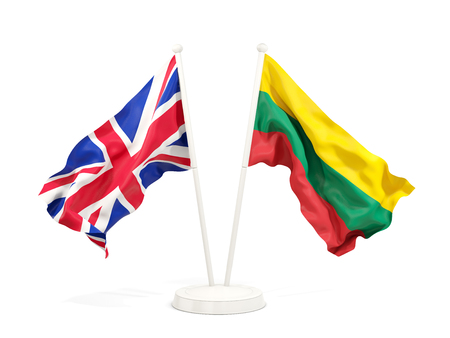 Two waving flags of United Kingdom and lithuania isolated on white. 3D illustration