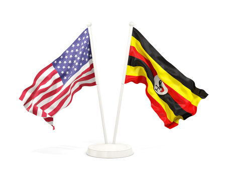 Two waving flags of United States and uganda isolated on white. 3D illustration Stock Photo