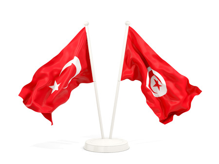 Two waving flags of Turkey and tunisia isolated on white. 3D illustration Stock Photo