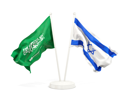 Two waving flags of Saudi Arabia and israel isolated on white. 3D illustration Stock Photo