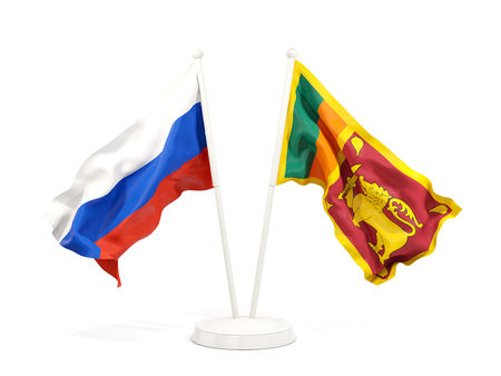 Two waving flags of Russia and sri lanka isolated on white. 3D illustration Stock Photo