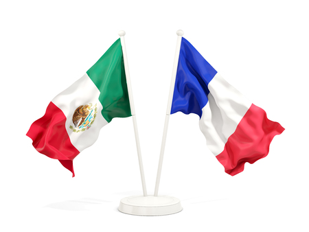 Two waving flags of Mexico and france isolated on white. 3D illustration