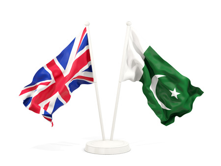 Two waving flags of United Kingdom and pakistan isolated on white. 3D illustration
