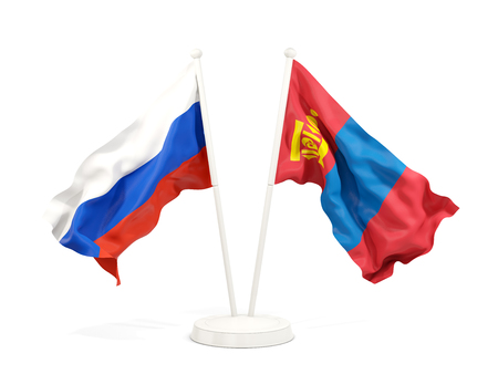 Two waving flags of Russia and mongolia isolated on white. 3D illustration