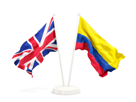 Two waving flags of United Kingdom and colombia isolated on white. 3D illustration Stock Photo