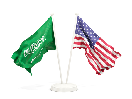 Two waving flags of Saudi Arabia and United States isolated on white. 3D illustration Stock Photo