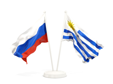 Two waving flags of Russia and uruguay isolated on white. 3D illustration