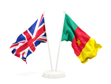 Two waving flags of United Kingdom and cameroon isolated on white. 3D illustration