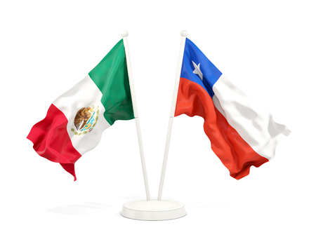 Two waving flags of Mexico and chile isolated on white. 3D illustration