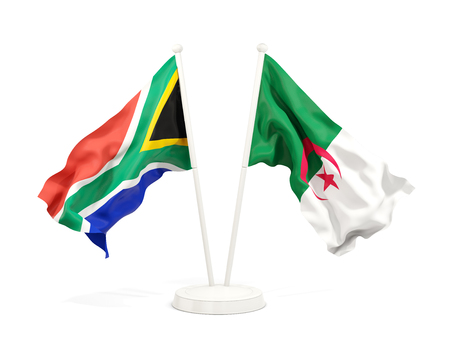Two waving flags of South Africa and algeria isolated on white. 3D illustration