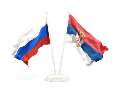 Two waving flags of Russia and serbia isolated on white. 3D illustration