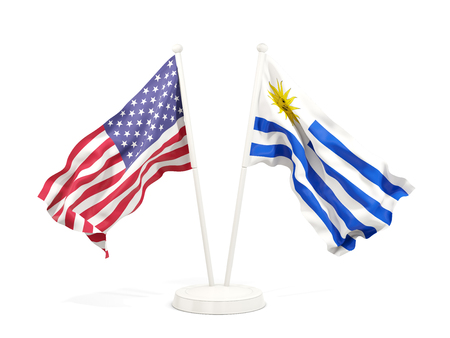Two waving flags of United States and uruguay isolated on white. 3D illustration