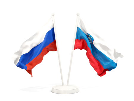 Two waving flags of Russia and slovenia isolated on white. 3D illustration Stock Photo