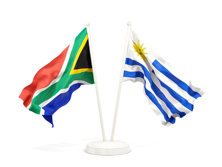 Two waving flags of South Africa and uruguay isolated on white. 3D illustration