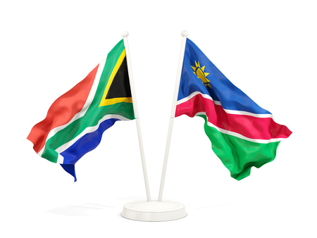 Two waving flags of South Africa and namibia isolated on white. 3D illustration