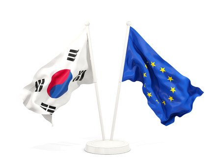 Two waving flags of South Korea and EU isolated on white. 3D illustration