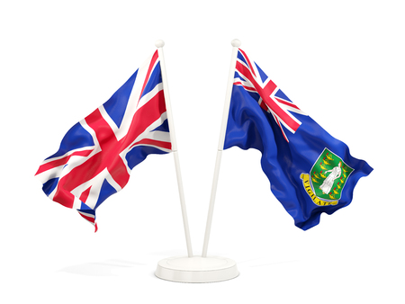 Two waving flags of United Kingdom and british virgin islands isolated on white. 3D illustration Stock Photo