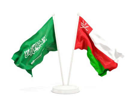 Two waving flags of Saudi Arabia and oman isolated on white. 3D illustration