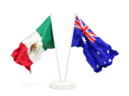 Two waving flags of Mexico and australia isolated on white. 3D illustration