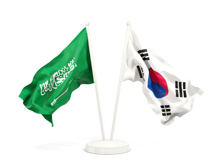 Two waving flags of Saudi Arabia and south korea isolated on white. 3D illustration
