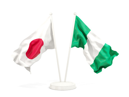Two waving flags of Japan and nigeria isolated on white. 3D illustration