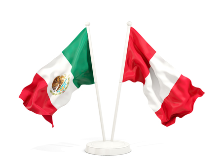Two waving flags of Mexico and peru isolated on white. 3D illustration