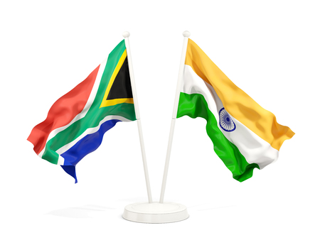 Two waving flags of South Africa and india isolated on white. 3D illustration