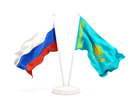 Two waving flags of Russia and kazakhstan isolated on white. 3D illustration Stock Photo