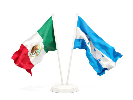 Two waving flags of Mexico and honduras isolated on white. 3D illustration Stock Photo