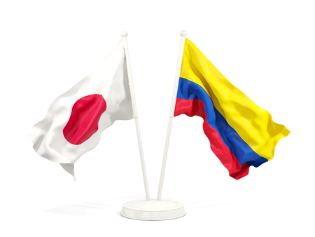 Two waving flags of Japan and colombia isolated on white. 3D illustration