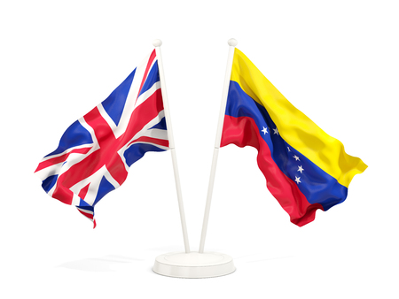 Two waving flags of United Kingdom and venezuela isolated on white. 3D illustration Stock Photo