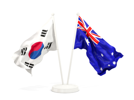 Two waving flags of South Korea and australia isolated on white. 3D illustration Stock Photo