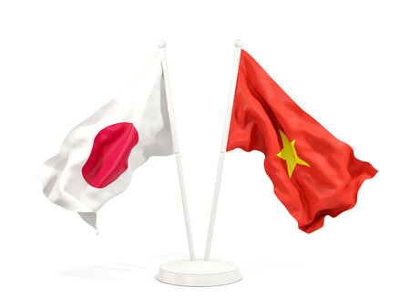 Two waving flags of Japan and vietnam isolated on white. 3D illustration Stock Photo