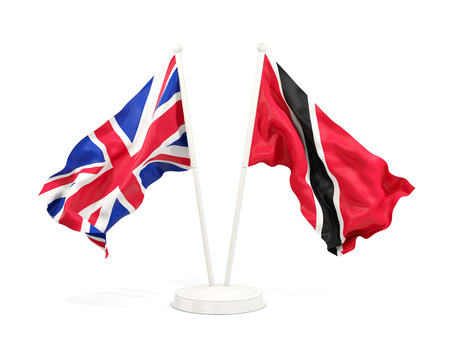 Two waving flags of United Kingdom and trinidad and tobago isolated on white. 3D illustration Stock Photo