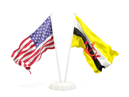 Two waving flags of United States and brunei isolated on white. 3D illustration Stock Photo