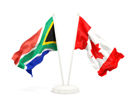 Two waving flags of South Africa and canada isolated on white. 3D illustration Stock Photo