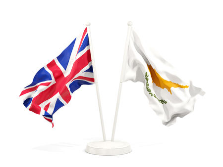 Two waving flags of United Kingdom and cyprus isolated on white. 3D illustration