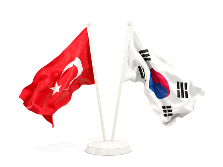 Two waving flags of Turkey and south korea isolated on white. 3D illustration