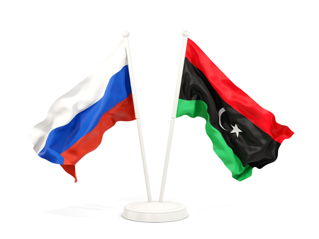 Two waving flags of Russia and libya isolated on white. 3D illustration