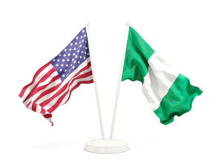 Two waving flags of United States and nigeria isolated on white. 3D illustration