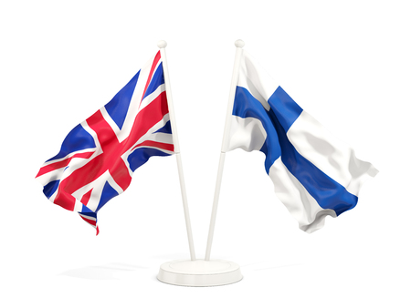 Two waving flags of United Kingdom and finland isolated on white. 3D illustration