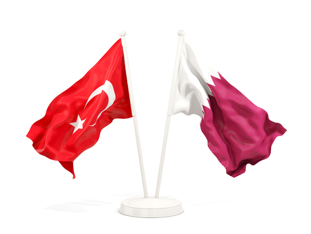 Two waving flags of Turkey and qatar isolated on white. 3D illustration