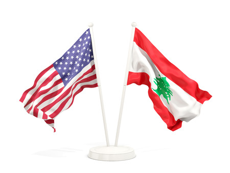 Two waving flags of United States and lebanon isolated on white. 3D illustration Stock Photo