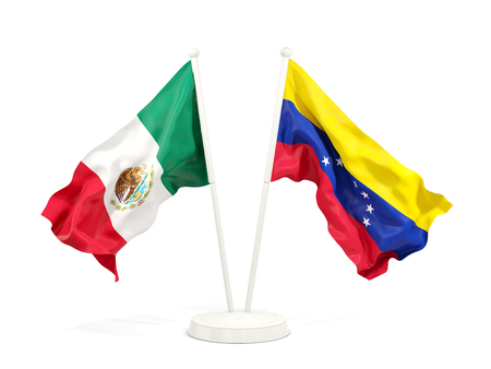 Two waving flags of Mexico and venezuela isolated on white. 3D illustration